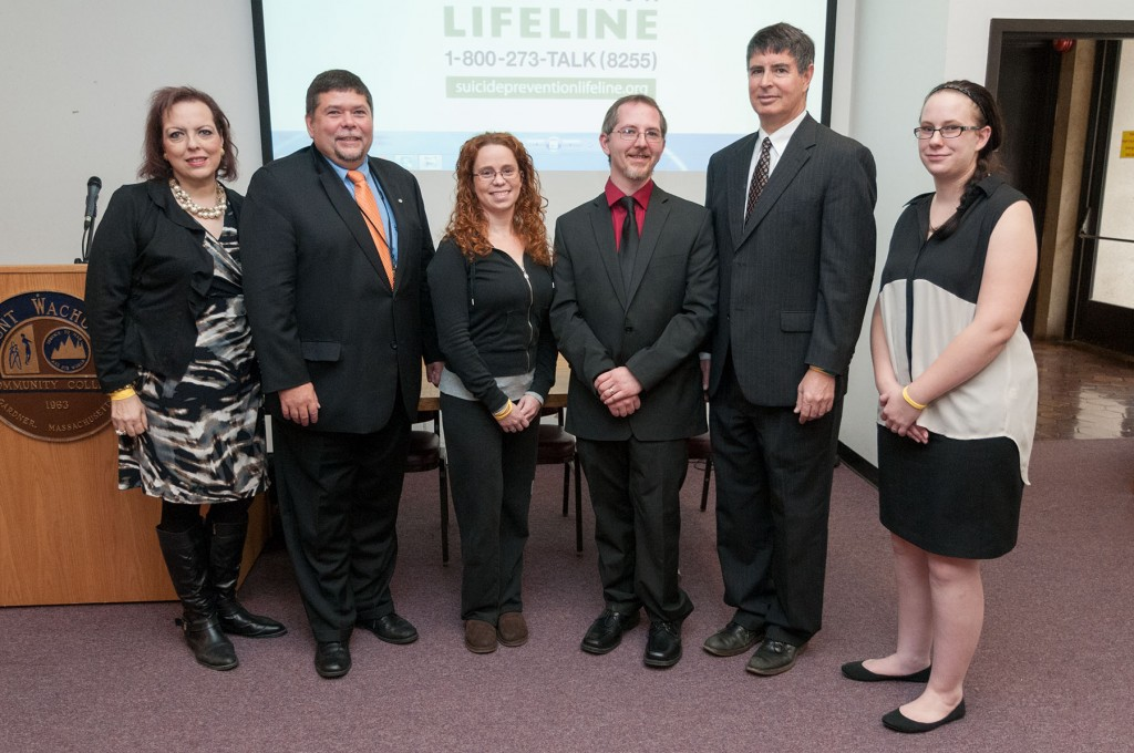 Honors Program Coordinator Sheila Murphy; Michael Ellis, project coordinator of the Men's Suicide Prevention Program at Heywood Hospital; MWCC student Carrie DeCosta, Stan, former State Senator Robert Antonioni, and LaBelle
