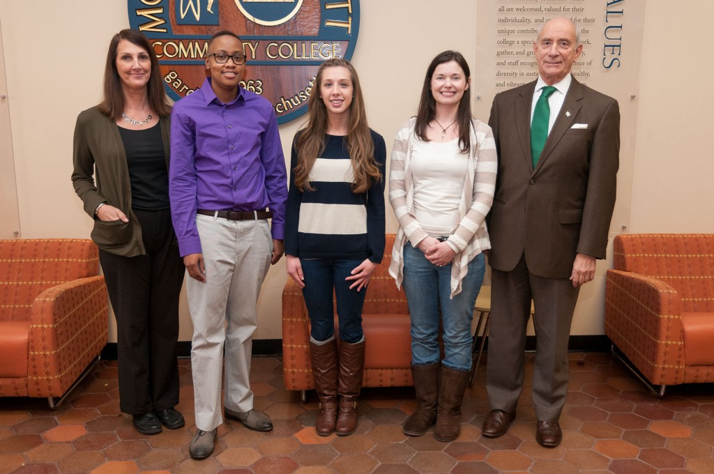 Diversity scholastic competition winners with Carla Morrissey and President Asquino