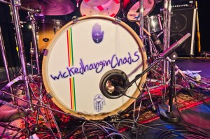 Closeup of the drum set for Wicked Hangin Chads