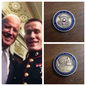 Selfie of Aaron Trudeau with Vice President Biden and a close up of the personal challenge coin from Vice President Biden