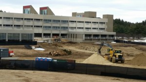 Construction scene in the front of the Gardner campus