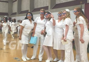 """A group of MWCC Nursing students with """"I"""