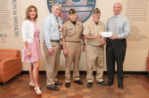 Group of Veterans presenting a check to President Dan Asquino, Bob Mayer and Carla Zottoli