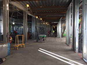 Third floor of the new STEM wing looking east back towards the future connection to the existing Haley Building