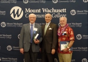 Dr. Vincent Ialenti, Dean of Academic and Institutional Technology, and Math Professor Ken Takvorian were recognized for 45 years of service by President Asquino and the college community during the 21st annual Employee Service Awards Ceremony.