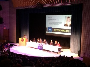 An audience of over 250 attendees hears advice from a panel of opioid addition experts in the Mount Wachusett Community College Theatre.