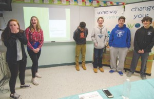 Students from the Youth Venture program react as they learn they have won a $500 grant from the United Way on Thursday afternoon at Samoset Middle School in Leominster. From left are Kimberly Frahey, Justina Vivo Amore, Justice Reynolds, Andrew Chevarie, Anthony Morin and Brenden Joyce. SENTINEL & ENTERPRISE / Ashley Green